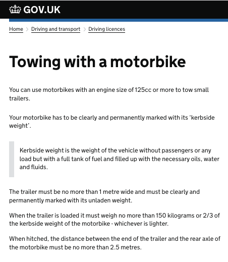 Towing with a motorbike