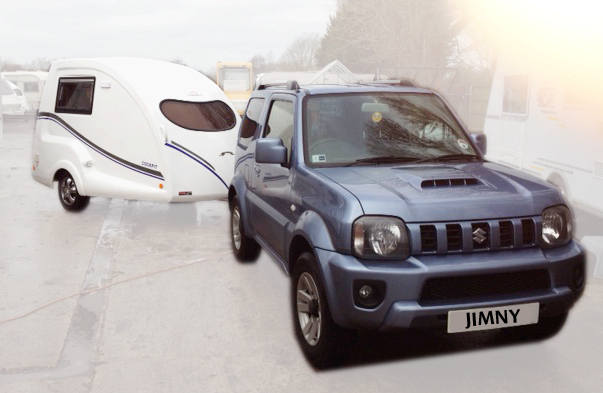 Go-Pod 2 berth small caravan with Suzuki Jimny