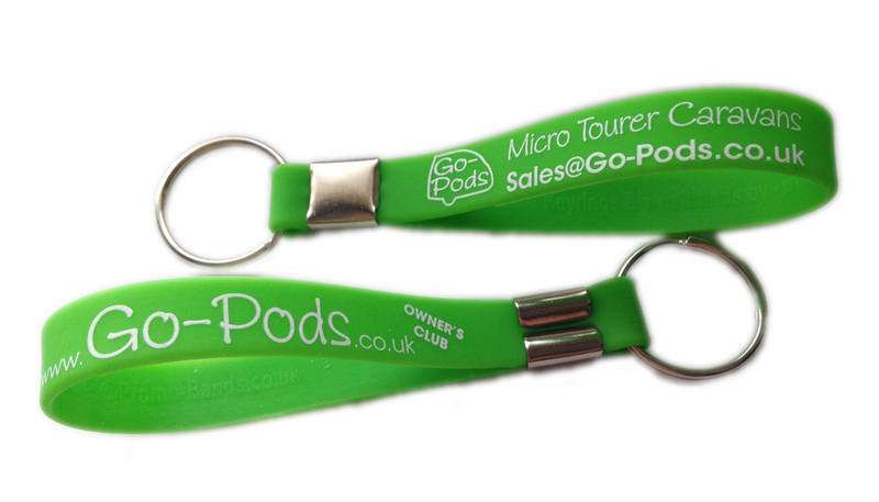 Go-Pods 2 berth caravan keyrings by www.Promo-Bands.co.uk