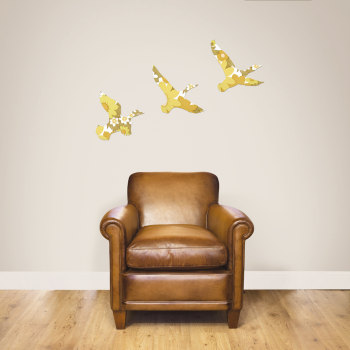 Set of Vintage Wallpaper Wooden Ducks (Mustard)