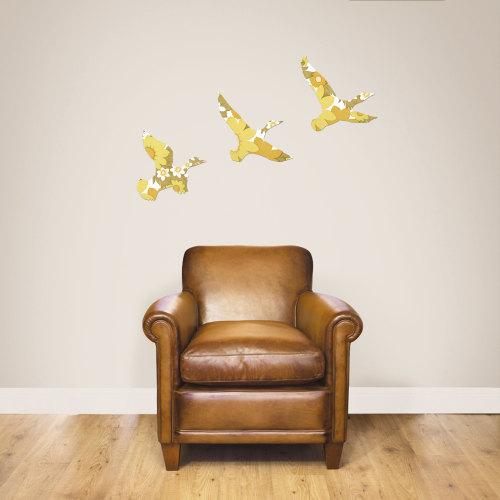 Set of Vintage Wallpaper Wooden Ducks (Mustard)