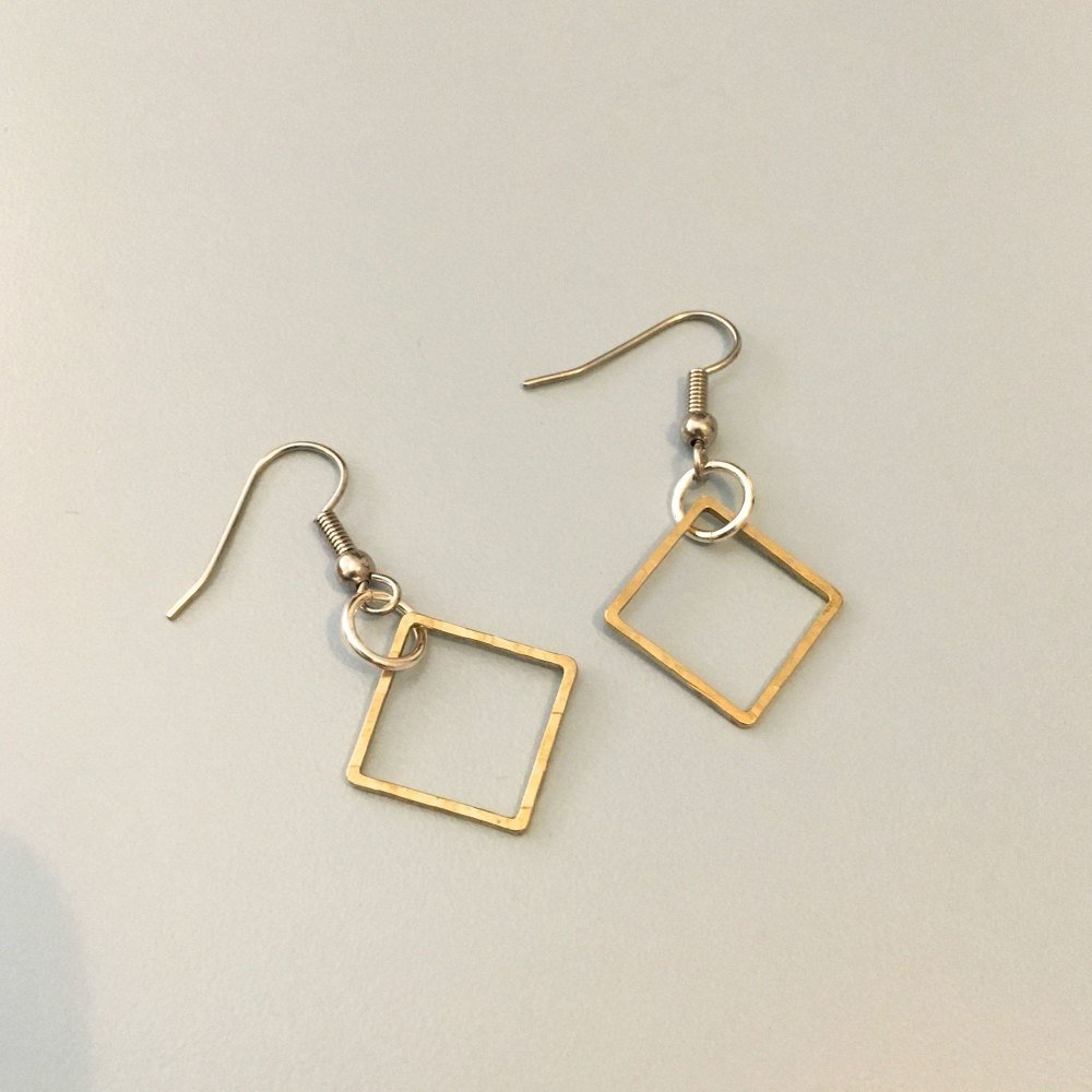 Brass Squares Earrings