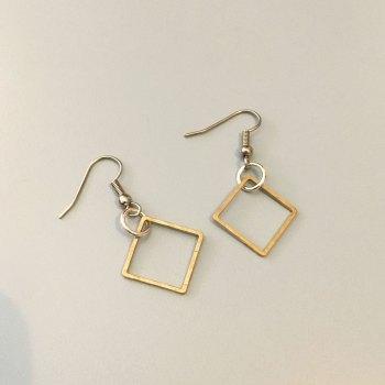 Brass Squares Earrings