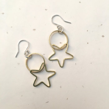 Circle & Star Brass Earrings