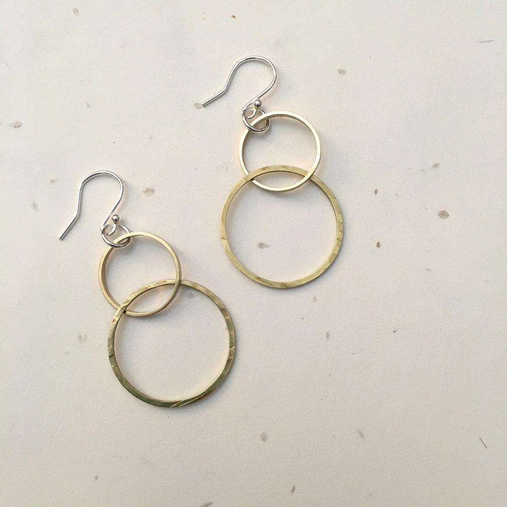 Double Circle Brass Earrings