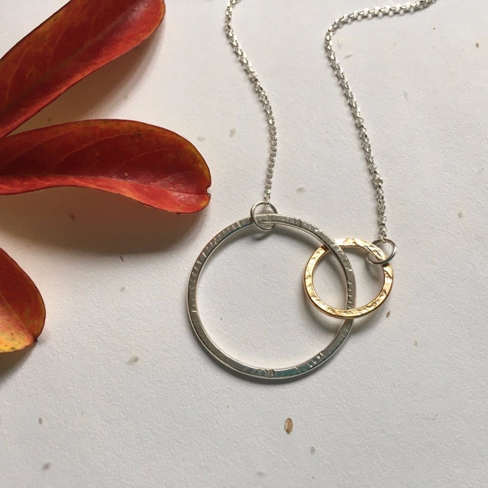 Large Silver and Rose Gold Filled Connecting Circle Necklace