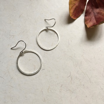 Silver 'Paper Embossed' Hoop Earrings