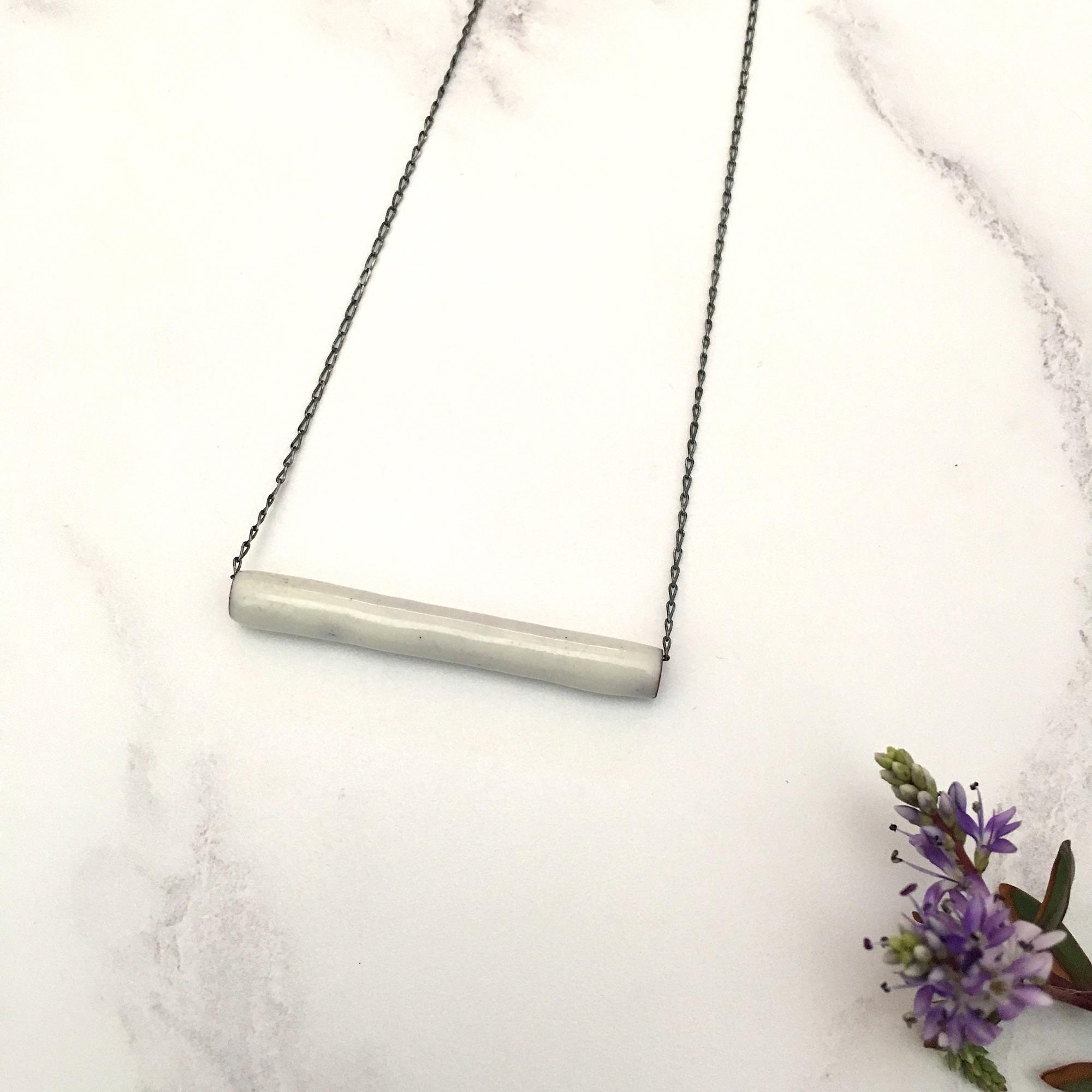 white enamel tube pendant