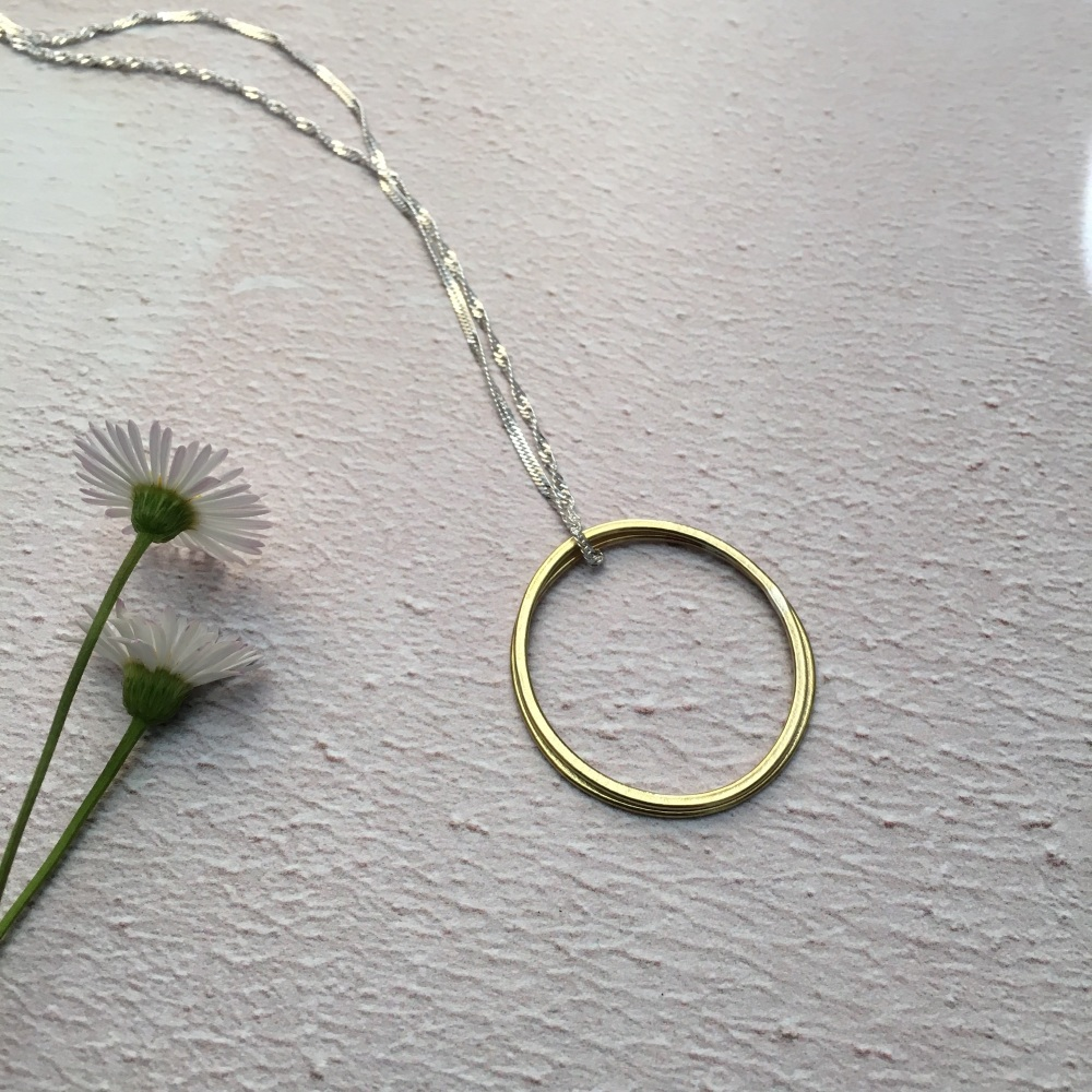 2 Ring Paper-Printed Brass Pendant