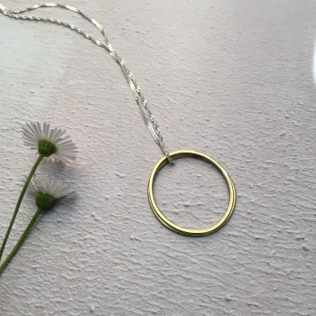 2 Ring Paper-Printed Brass Pendant