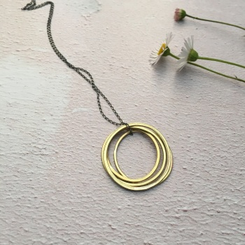 4 Ring paper-Printed Brass Pendant