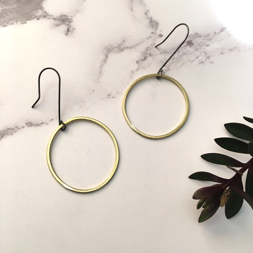Brass Paper-Printed Hoop Earrings