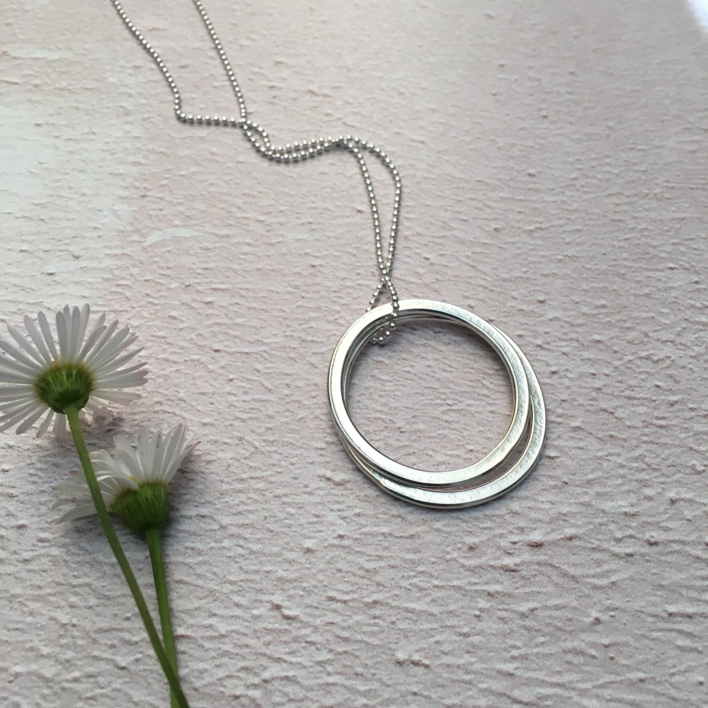 Double Circle Paper-Embossed Pendant