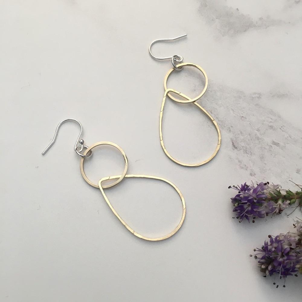 Brass & Sterling Silver Earrings