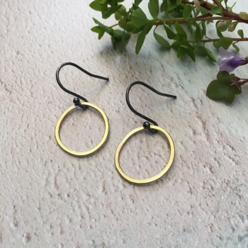 Small Brass Paper-Printed hoops