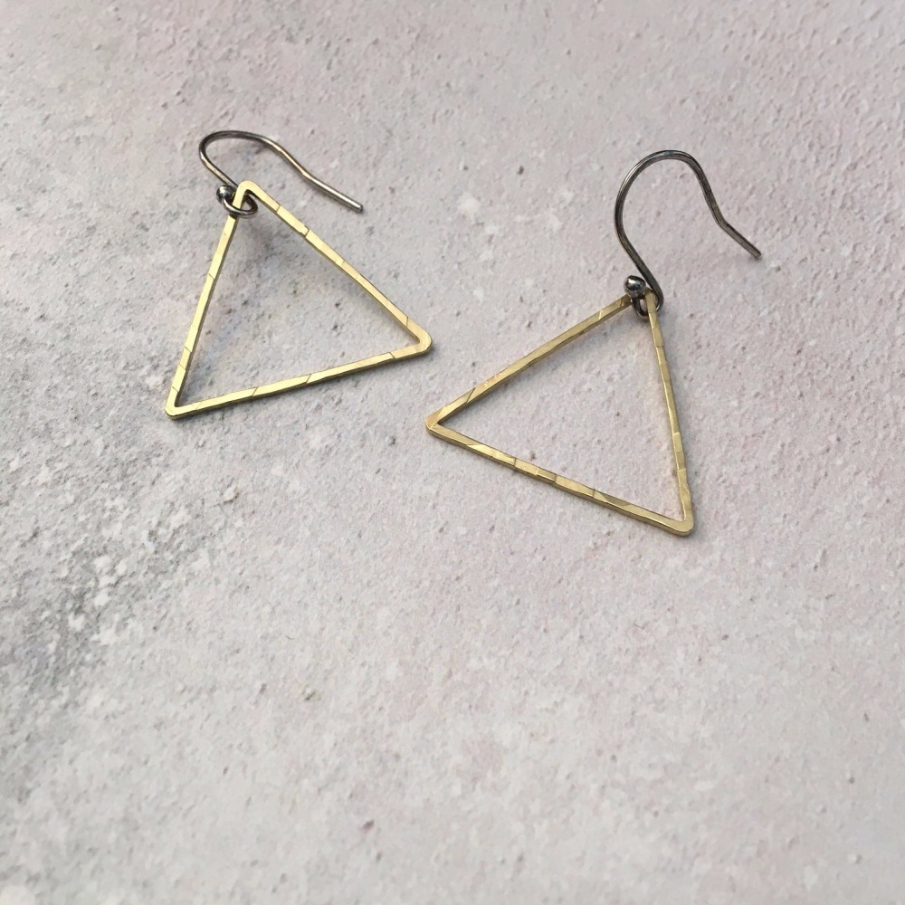 Medium Brass Triangle Earrings