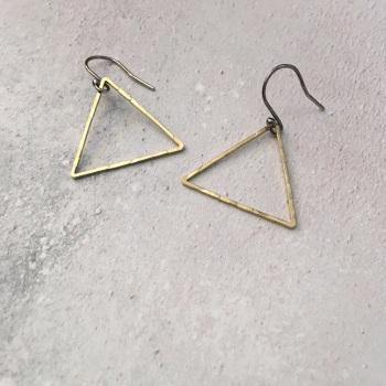 Medium Brass Triangle Earrings