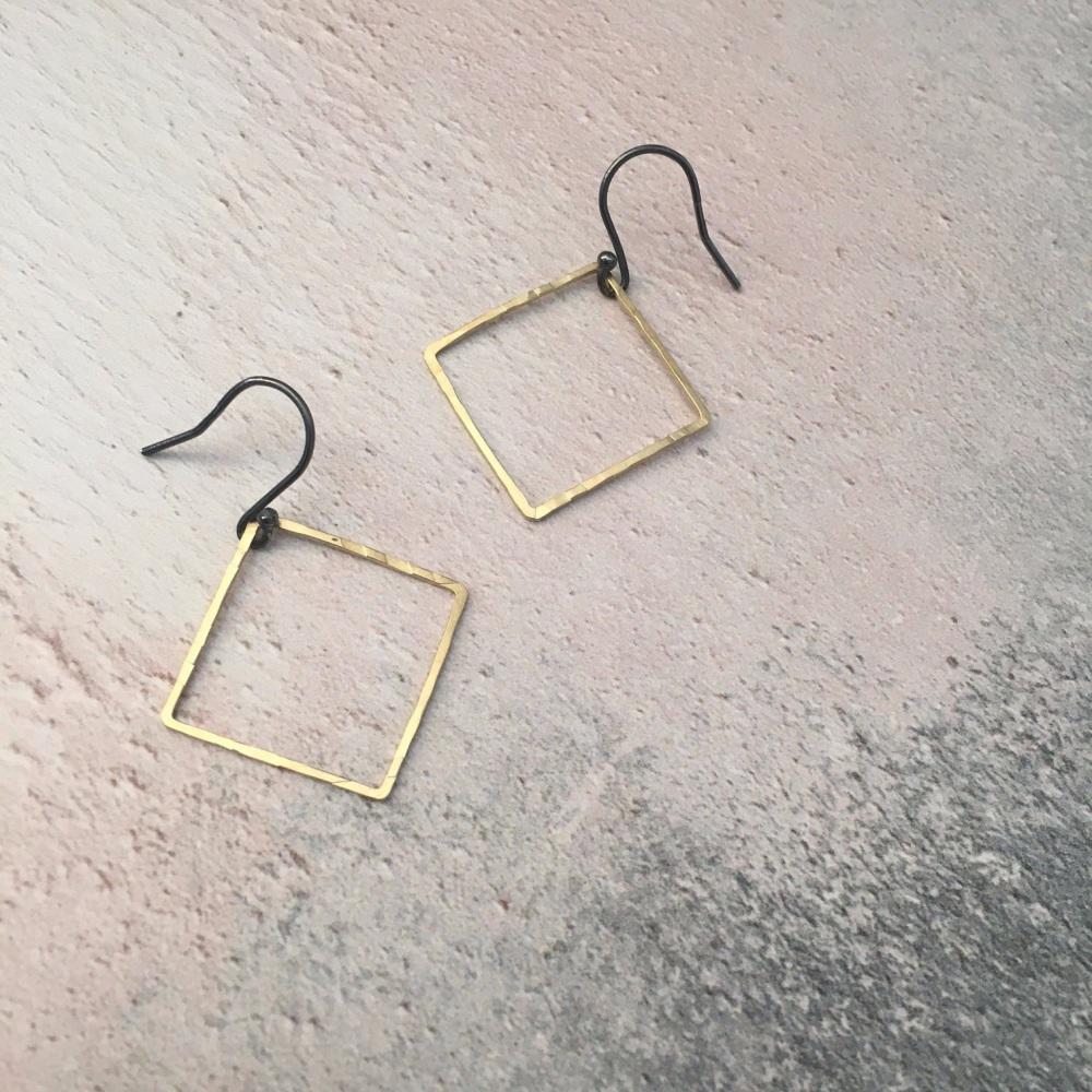 Medium Brass Square Earrings