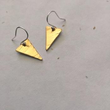 Brass Flag Earrings