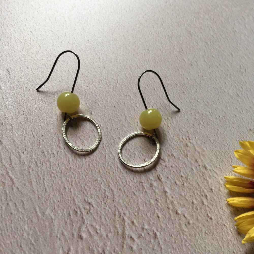 Silver Hoop & Lemon Jasper Earrings