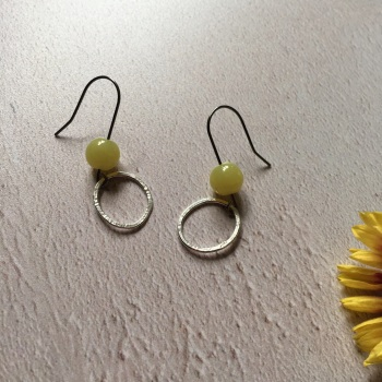 Silver Hoop & Lemon Jasper Earrings