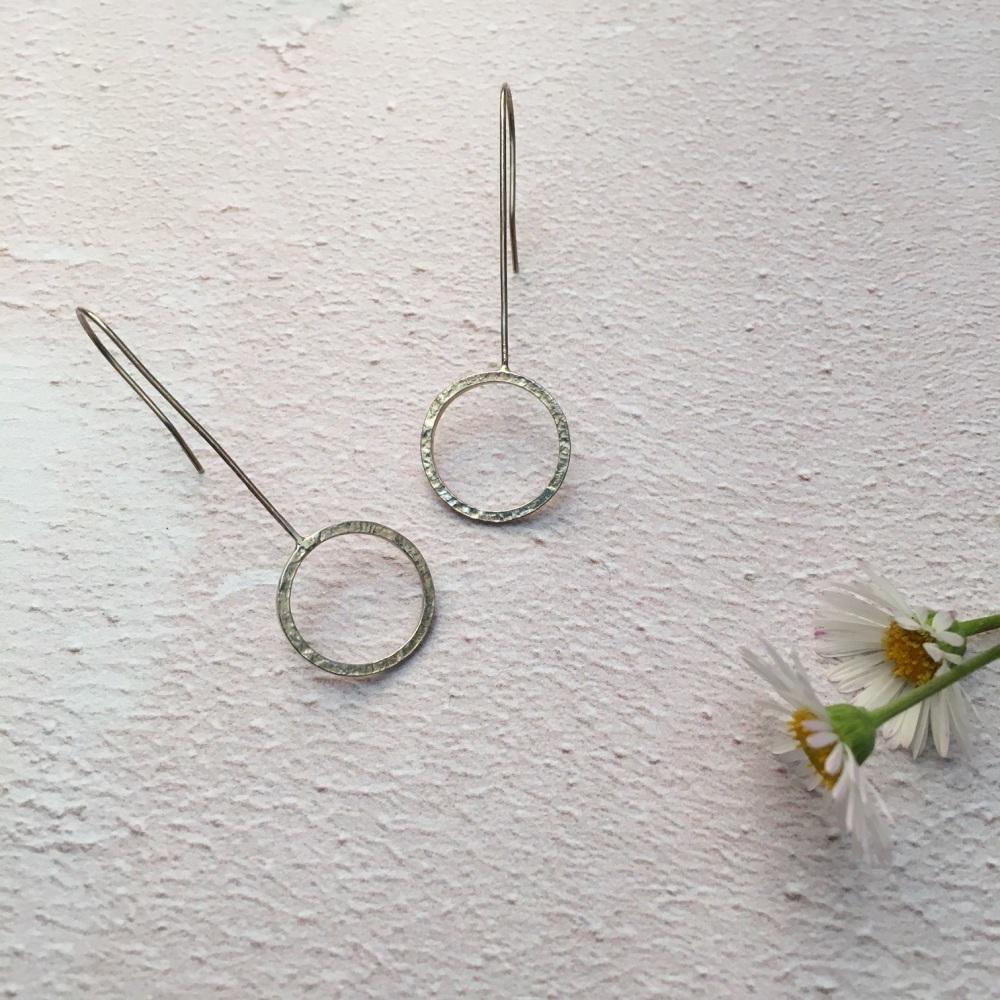 Long Drop Silver Hoop Earrings