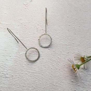 Long Drop Silver Hoop Earrings - lace embossed