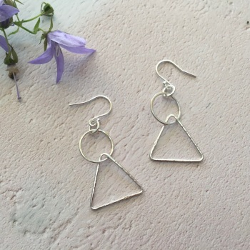 Circle & Triangle Silver Earrings