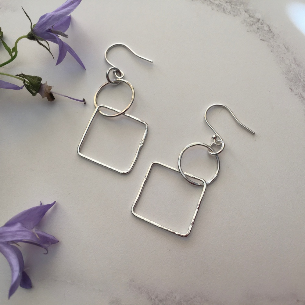 Circle & Square Silver Earrings