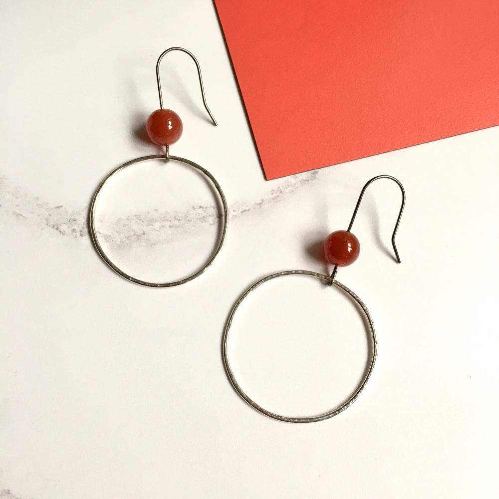 Silver Hoop Earrings with Carnelian Beads