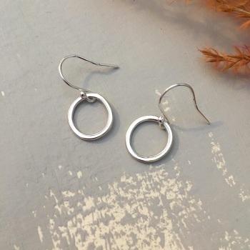 Silver 'Paper Embossed' Small Hoop Earrings