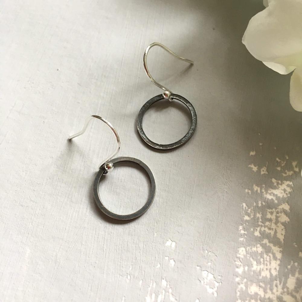 Oxidised Silver 'Paper Embossed' Small Hoop Earrings