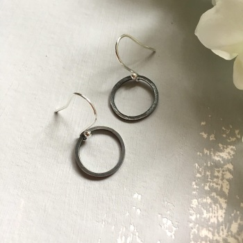 Oxidised Silver 'Paper Embossed' Small Hoop Earrings
