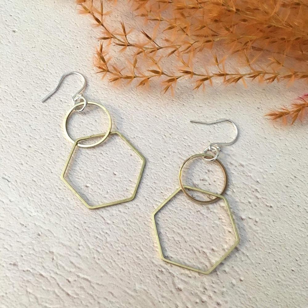 Circle & Hexagon Brass Earrings