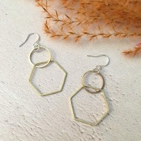 Circle & Hexagon Brass Earrings