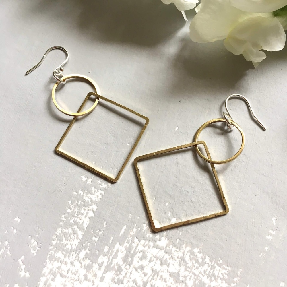 Circle & Square Brass Earrings