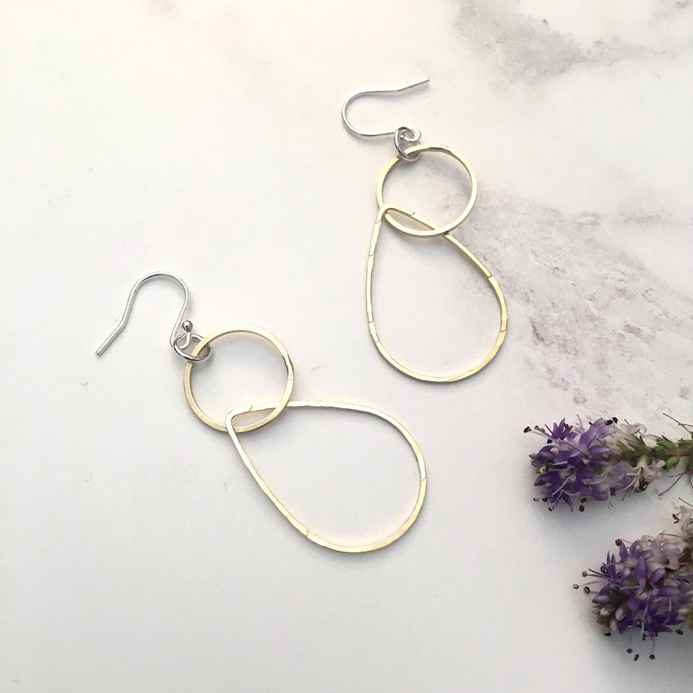 Circle & Teardrop Brass Earrings