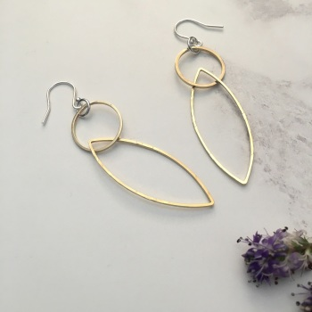 Circle & Marquise Brass Earrings