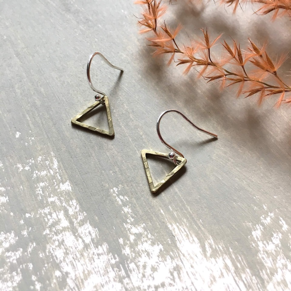 Mini Brass Triangle Earrings