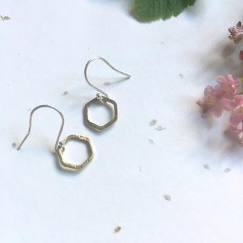 Brass Hexagon Earrings