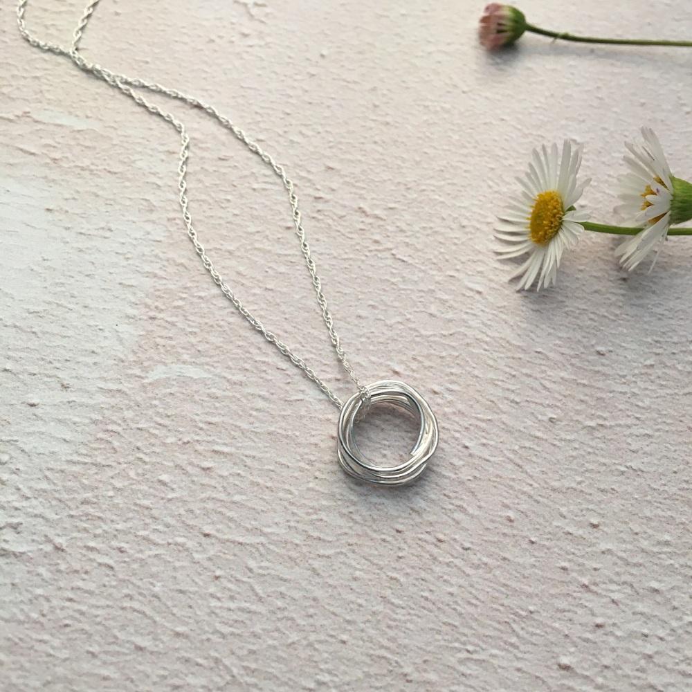 Mini Silver 'vintage lace imprinted' Wrap Pendant