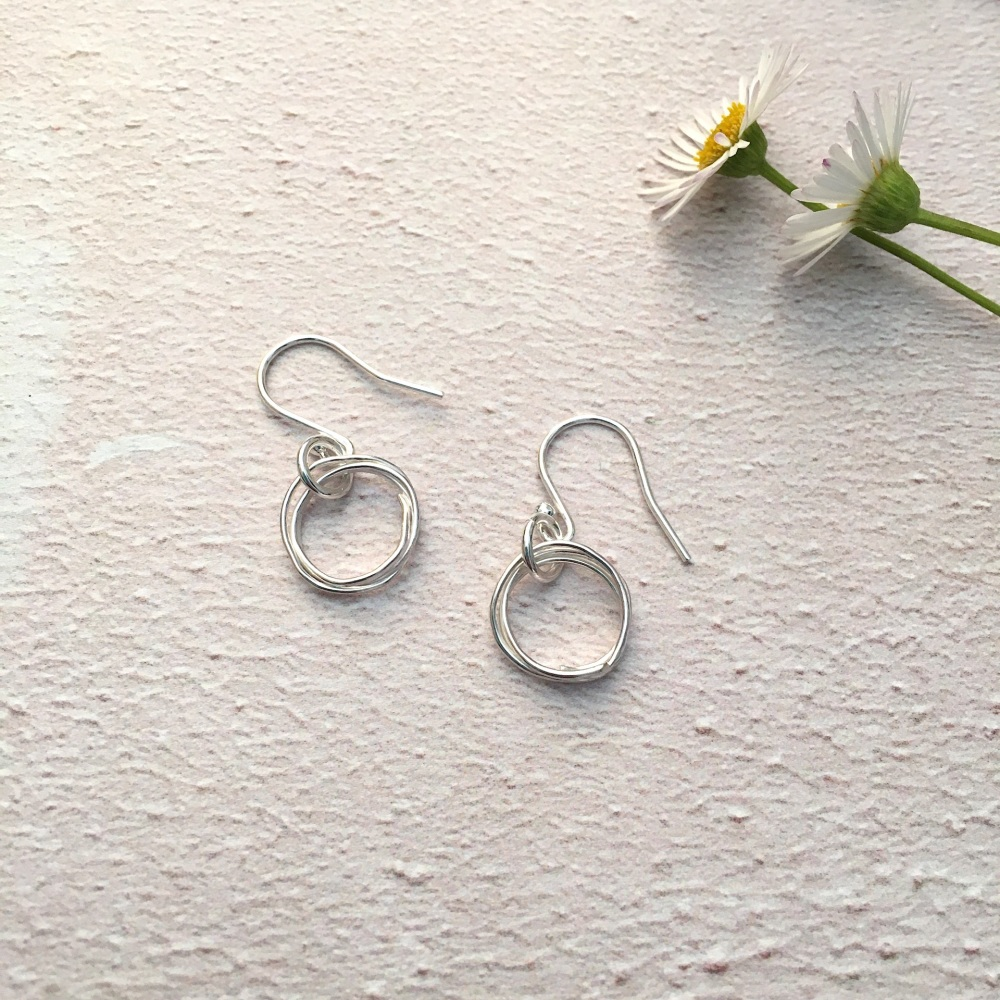 Silver Vintage Lace Imprinted Wire Wrap Earrings