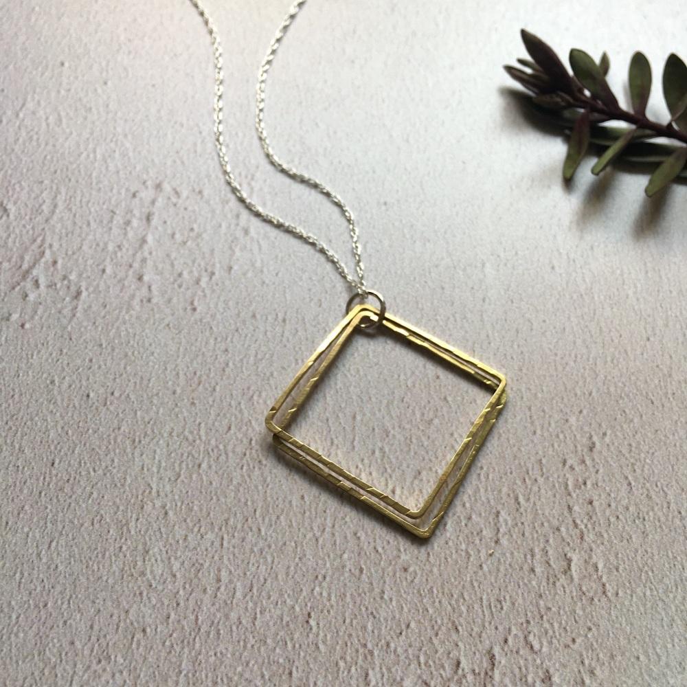 Brass Double Square Pendant