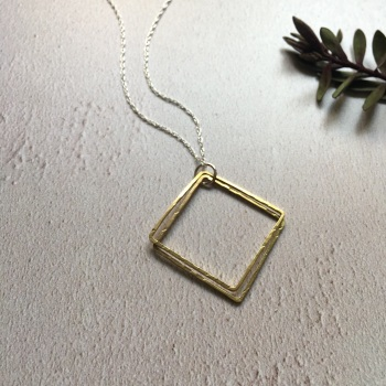 Brass Double Square Pendant