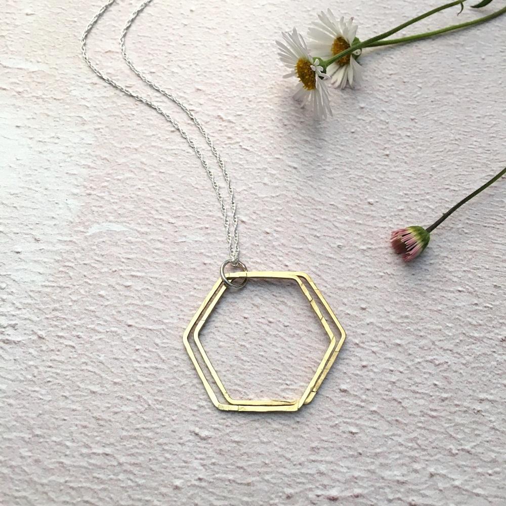 Brass Hexagon Pendant