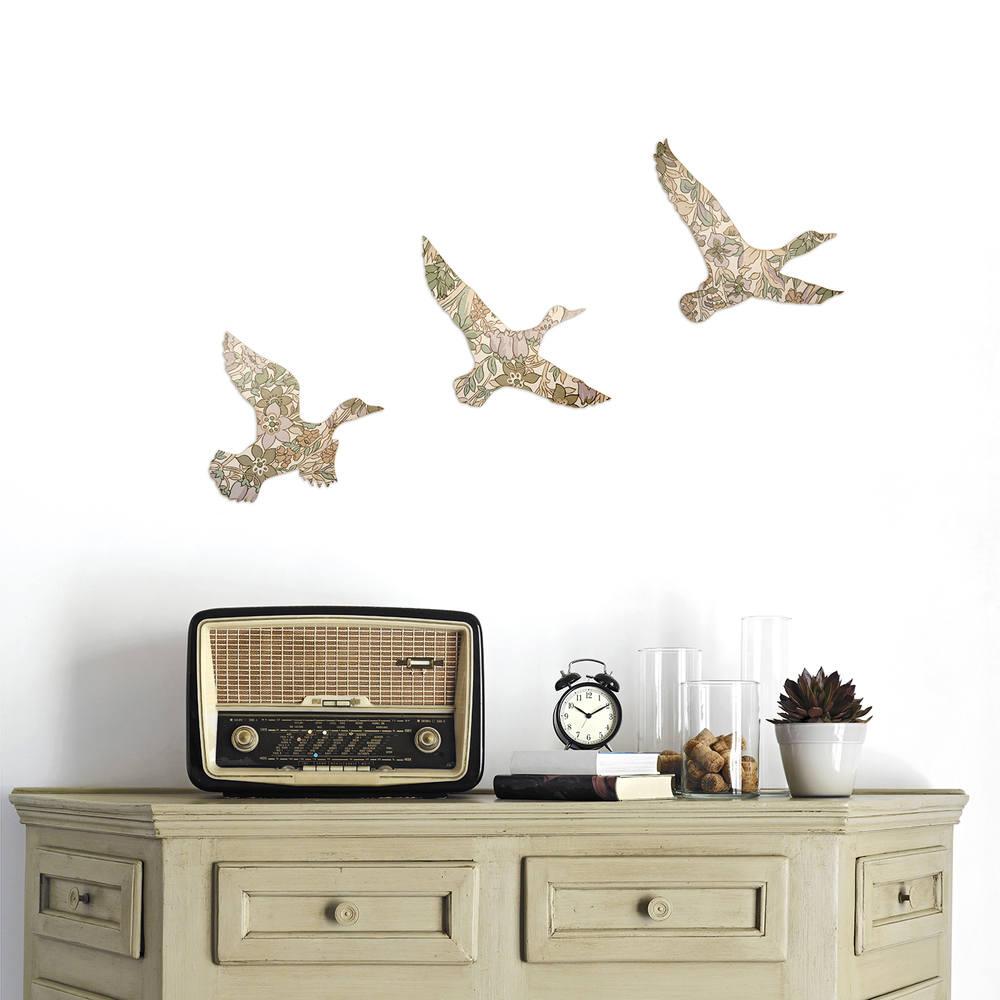 Set of 3 Wallpaper Covered Ducks