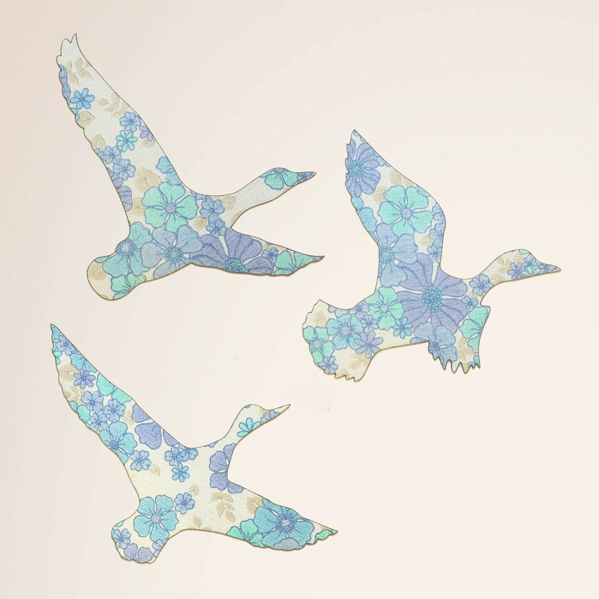 Set of 3 Wallpaper Flying Ducks