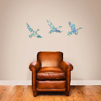 Set of 3 Blue Vintage Wallpaper Flying Ducks