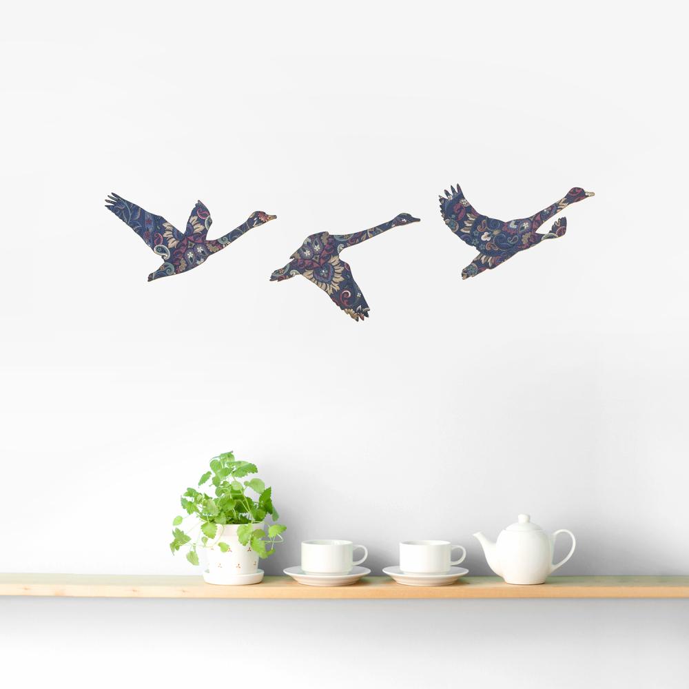 Set of 3 Blue Vintage Wallpaper Flying Swans