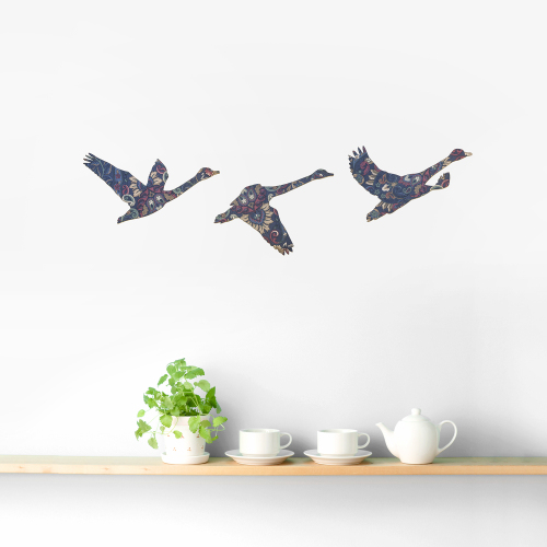Set of 3 Blue Vintage Wallpaper Flying Swans